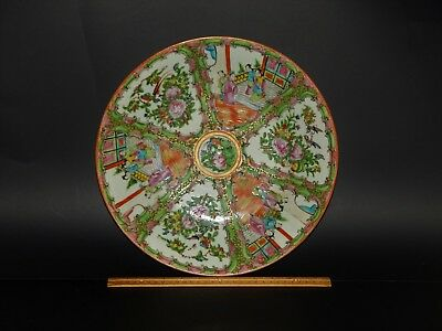 """Large Antique Chinese Canton Famille Rose Medallion Charger Platter 13 3/8"""""""
