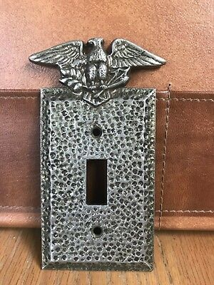 Eagle Patriotic Edmar Eagle Switch Plate Wall Cover Brass Plated Hammered