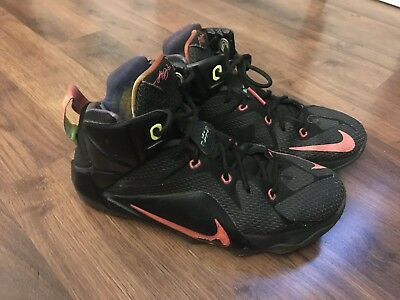 info for 71163 495d1 Nike Lebron James XII 12 GS Black Red Volt Boys Youth 6.5Y Shoes Sneakers