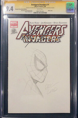 ALEX ROSS signed ORIGINAL GREG LAND Sketch Art CGC 9.4 SPIDER-MAN not CBCS