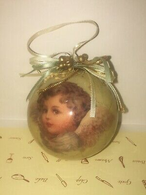 Vintage Ball Christmas Ornaments VICTORIAN ANGEL Decoupage Paper Mache