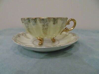 Shafford Japan Pale Mint Luster Teacup Saucer 3 Footed Scalloped Gold Filigree