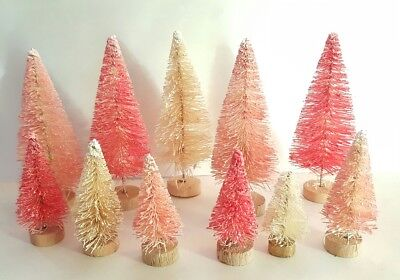 LOT 11 Mini Miniature RED PINK IVORY Sisal Bottle Brush Flocked Christmas Trees