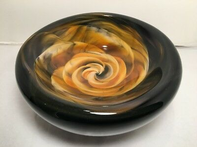 Rosetree New Orleans Hand Blown Art Glass Amber Black Rose Bowl Signed & Dated