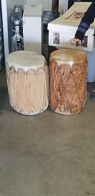 Lot of 2 Tall Native American Indian Pueblo Carved Log Drums