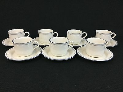 Lenox Chinastone Blue Pinstripes SEVEN Cups and Saucers