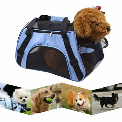 Blue Fabric Pet Carrier Soft Sided Cat Dog Comfort Travel Tote Bag Travel Useful