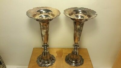 Vintage Japanese 950 Sterling Silver Candlesticks or Vases Pair. Original Box