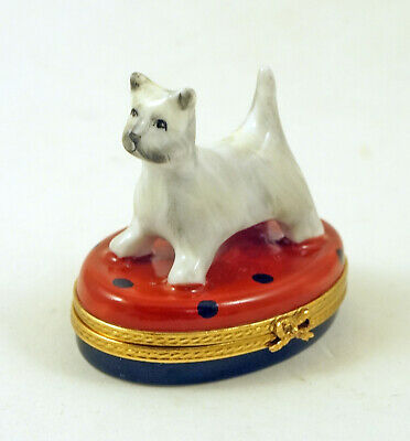 New French Limoges Trinket Box Cute Westie Dog Puppy On Polka Dot Red Box