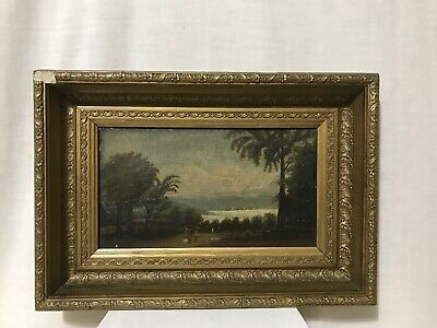 "Antique 19th Century Oil Painting Gold Painted Shadow Box Frame 7""x11"""