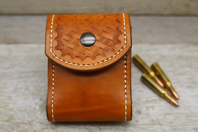 Custom Leather Hand Tooled Standard Rifle Cartridge Belt Carry Ammo Pouch