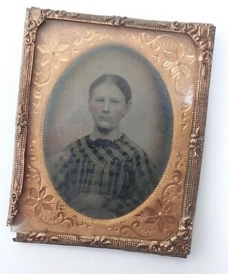 Antique 1800s Daguerreotype Hammered Copper Ornate Picture Frame Photograph