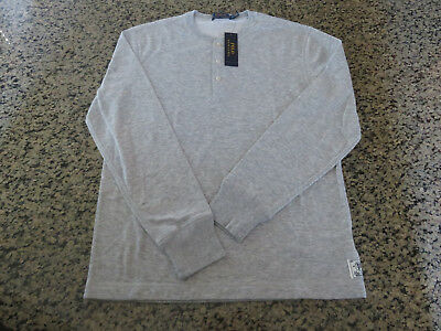 Polo RALPH LAUREN Men's S/L/XL Henley Heathered Gray Long Sleeve Dual Lined