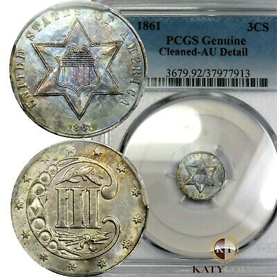 1861 PCGS AU Detail Three Cent Silver Trime 3c US Coin Item #20082A