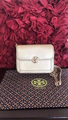 f7d37f4af89 TORY BURCH DUET Chain Micro Shoulder Bag In Gold Leather Nwt ...