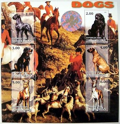 2001 Mnh Tadjikistan Dog Stamps Hologram Hunting Dogs Newfoundland Great Dane