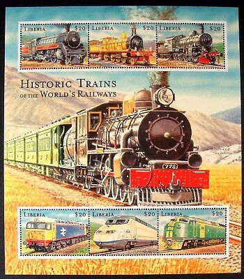 2000 Mnh Liberia Historic Trains Stamp Sheet Of 6 Passenger Steam Railways