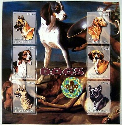 2001 Mnh Turkmenistan Dog Stamps Scout Emblem Hologram Dogs German Shepherd