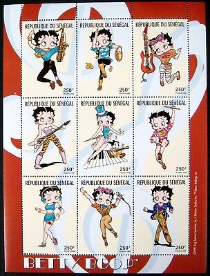 CHAD 1999 MNH BETTY BOOP STAMP SHEET 9V ANIMATED CARTOON CHARACTER COMIC