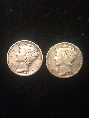 1940 S Mercury Head Dime & 1940 US 10 Cent American 10c Coin Lot Of (2) Coins