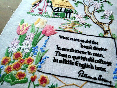 Thatch Cottage/Garden/Patience Strong - Verse  ~ Vintage Hand Emb Picture Panel