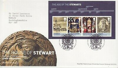 GB Stamps First Day Cover Kings Queens House of Stewart MS SHS Coat of Arms 2010