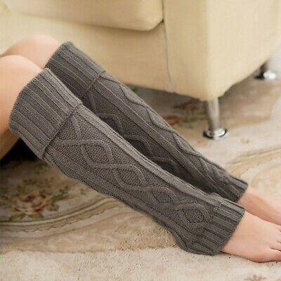 Women Crochet Knitted Soft Elastic Boot Cover Long Leg Warmers Leggings Socks AU