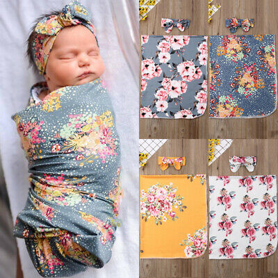 Newborn Baby Floral Snuggle Swaddling Wrap Blanket Sleeping Bag Swaddle 2Pcs