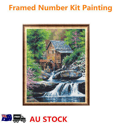40*50cm House Linen Canvas DIY Paint by Number Kit Painting Home Wall Decor Gift