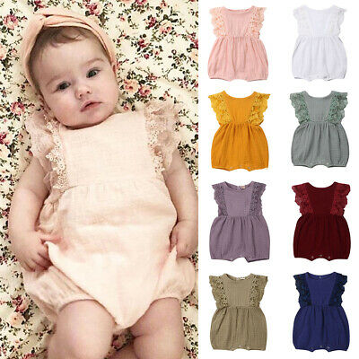 Newborn Infant Baby Girl Clothes Ruffle Sleeve Romper Headband 2PCS Outfits WE