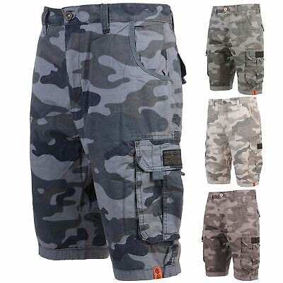 New Mens Crosshatch Military Cargo Combat Camo Army Bermuda Summer Shorts Pants