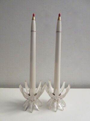 Mid-century Modern Lucite Starburst Candlesticks w/ Candles Atomic Ranch Xmas