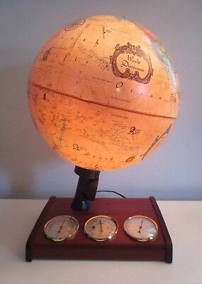 "Vintage Scan Globe 12"" Lighted World Spot Globe & Weather Station Denmark NOS!"