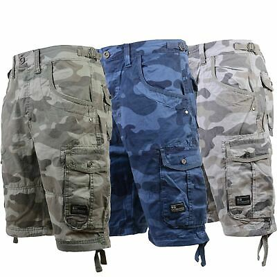 Mens Cargo Shorts Crosshatch Army Pocket Cotton Summer Bermuda Long 3/4 Pants
