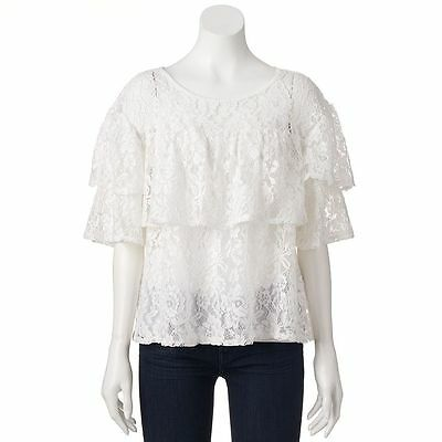a6d13fcfe1cec0 LC Lauren Conrad Women s Marshmallow Tiered Ruffle Lace Top Size Medium -  NWT