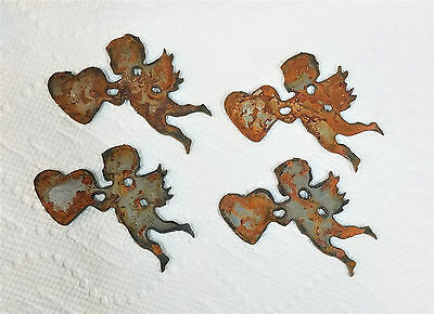 """Lot of 4 Cupid with Heart Shapes 3"""" Rusty Metal Vintage Stencil Craft Love Sign"""