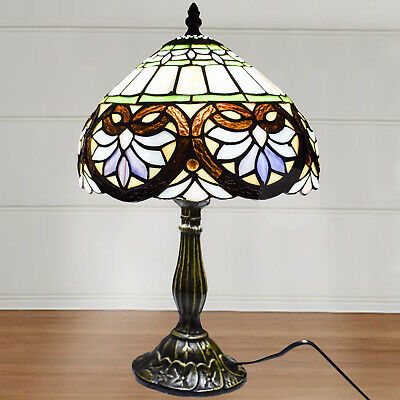 Antique Flowery Designed Glass TIFFANY Style Multi Colour Base Table Lamp 10""