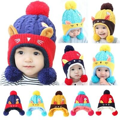 AU Toddler Kid Girl Boy Knitted Warm Cap Baby Winter Earflap Cat Crochet Hat Cap