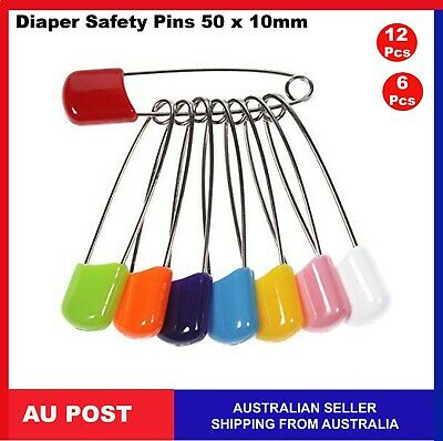 12, 6 Baby Diaper Nappy Safety Pins Metal Plastic Craft Scrapbook Sewing 50mm