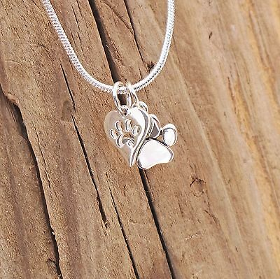Sterling Silver Tiny Dog Cat Paw Print Heart Charm Pendant Necklace Boxed Pet