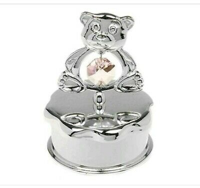 Crystal Baby Girl Silver Plated Teddy Bear Tooth Trinket Box Christening Gift