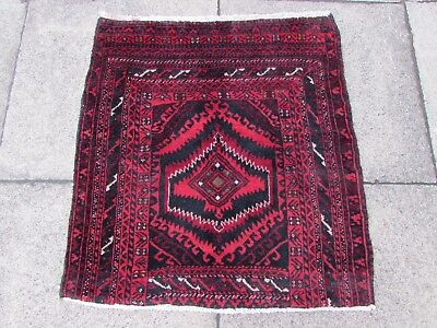 Old Hand Made Traditional Persian Rugs Oriental Wool Red Small Rug 80x75cm