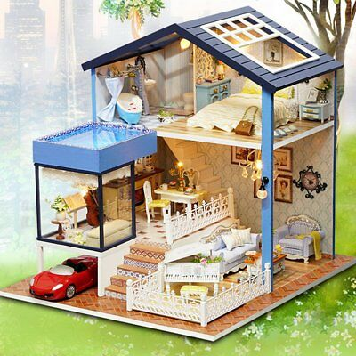 Seattle Wooden Doll House With Furniture Car LED Light Home Room Set Xmas Gift