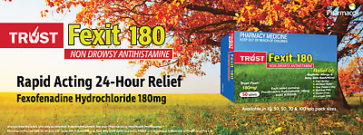 Trust Fexit 180Mg Tablets Non Drowsy Hayfever Allergy Relief Antihistamine