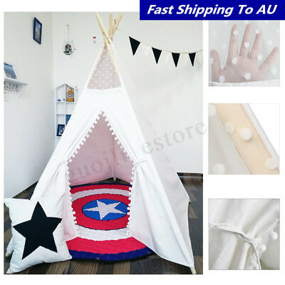 White 110*110*150cm Canvas Kids Teepee Pretend Play Tents Children Home Outdoor