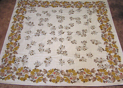 Vintage Cotton Tablecloth VERA Signed Shades of Brown Flowers and Red Ladybugs
