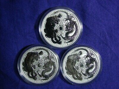 LOT OF 3 - 2018 BU AUSTRALIA DRAGON & TIGER SILVER COIN -  Only 50K MINTAGE!!!