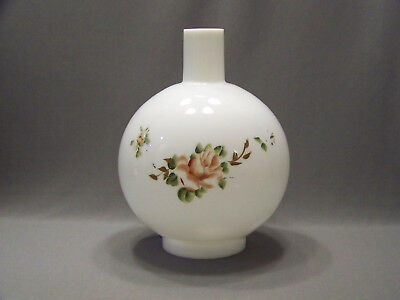 Vintage glass gone with the wind lamp  shade with chimney hand painted flowers