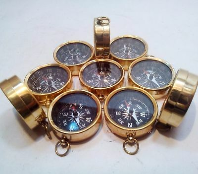 Lot Of 10 Pcs Maritime Nautical Vintage Style Brass Pocket Compass Key Chains