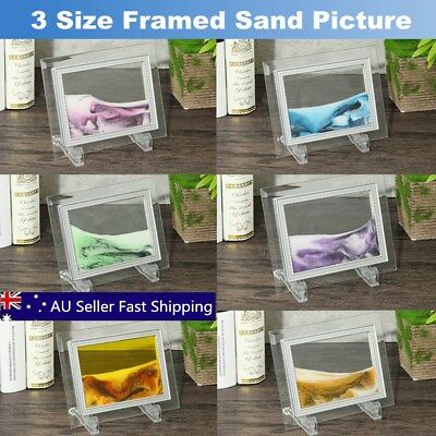 Framed Moving Sand Time Glass Pictures Home Table Decor Art Craft Gifts  6 Color